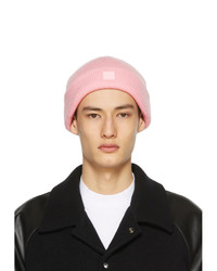 Acne Studios Pink Wool Patch Beanie