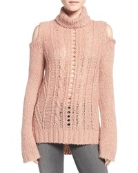 Pink Knit Cable Sweater