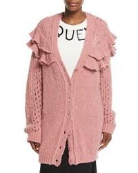 Boutique oversized ruffled loose knit cardigan medium 5054683