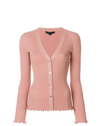 Alexander Wang Ribbed Cardigan With Ruffle Ball Chain Hems