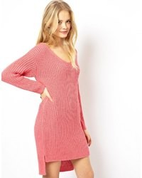 Asos Sweater Dress With Slouchy V Neck Cream