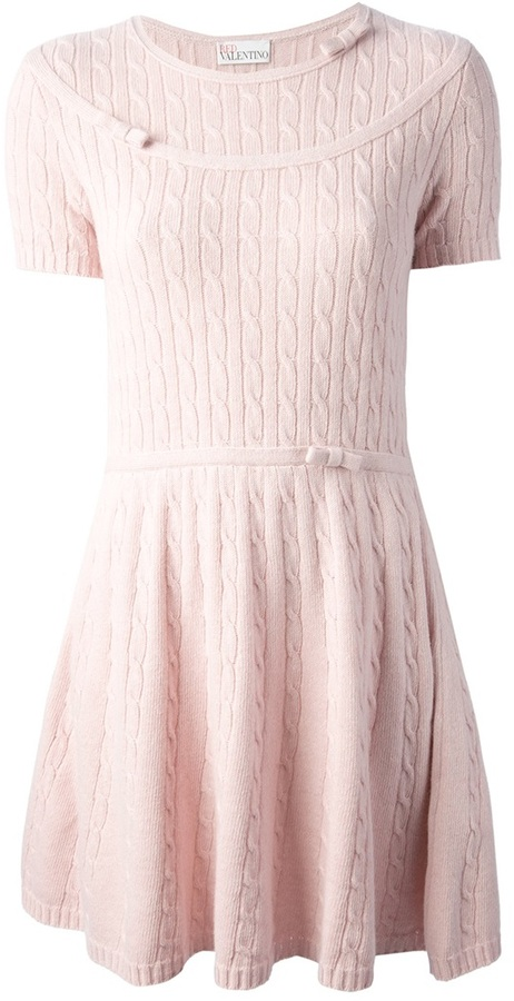 Cable Knit Dress Pink Casual By Red Valentino