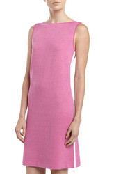 St. John Santana Knit Bateau Neck Shift Dress Pink Topaz