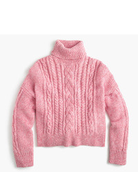 J.Crew Collection Cropped Cable Turtleneck Sweater