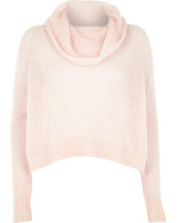 River Island Pink Mohair Cowl Neck Knitted Sweater