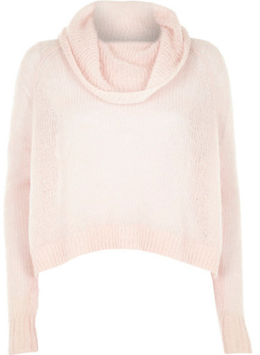 River Island Pink Mohair Cowl Neck Knitted Sweater | Where to buy ...