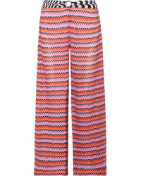 Missoni Mare Cropped Crochet Knit Wide Leg Pants Pink