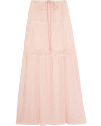 See by Chloe See By Chlo Tiered Stretch Knit Maxi Skirt Pastel Pink