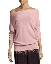 Fuzzi 34 Sleeve Off The Shoulder Wool Sweater Light Pink