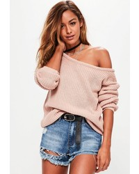 Missguided Blush Pink Off Shoulder Knit Sweater