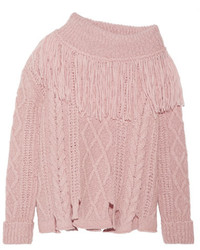 Philosophy di Lorenzo Serafini Fringed Off The Shoulder Cable Knit Alpaca Blend Sweater Baby Pink