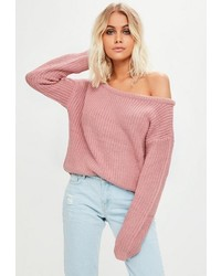 Missguided Pink Off Shoulder Cropped Sweater
