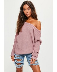 Missguided Pink Off Shoulder Knit Sweater