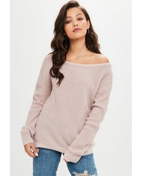 Missguided Pink Off Shoulder Sweater