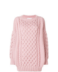 Pink Knit Oversized Sweater