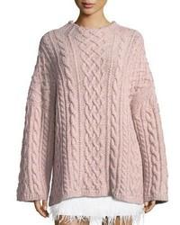 Oversized fisherman cable knit sweater medium 5146686
