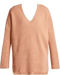 V neck ribbed knit wool sweater medium 4421555