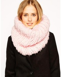 Asos Chunky Infinity Scarf In Hand Knit Funnel Detail Light Pink