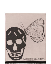 Alexander McQueen Pink And Black Oversize Skull Scarf