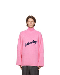 Balenciaga Pink Oversized Signature Logo Turtleneck