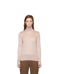 Victoria Beckham Pink Silk Slim Fit Turtleneck