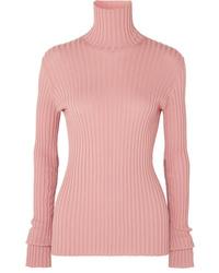 Victoria Beckham Ribbed Stretch Cotton Blend Turtleneck Sweater
