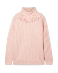 Miu Miu Tasseled Mohair Blend Turtleneck Sweater