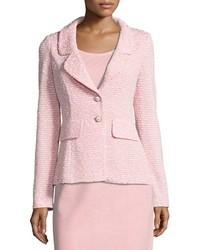 St. John Spring Tweed Knit Blazer Pink