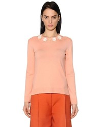 Fendi Flower Appliqus Wool Knit Sweater