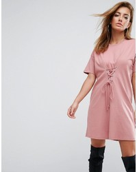 Asos Cinched In Lace Up Waist T Shirt Dress