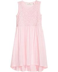 H&M Jersey Dress With Lace Light Pink Kids