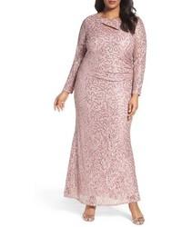 Marina Plus Size Sequin Lace Keyhole Gown