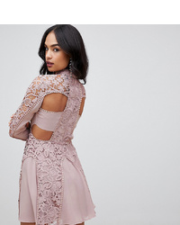 ASOS DESIGN Mini Dress With High Neck In Guipure Lace With Cut Out