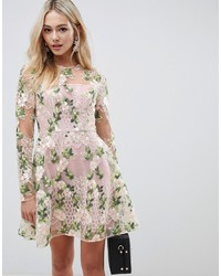 ASOS DESIGN Mini Skater Dress In Pretty Embroidery
