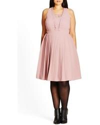 Plus size eyelash trim lace inset pleat fit flare dress medium 793688
