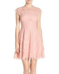 Rhianna illusion yoke lace fit flare dress medium 3752969