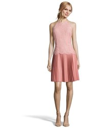 Hayden Rose Pink Lace And Pleated Faux Leather Halter Cocktail Dress