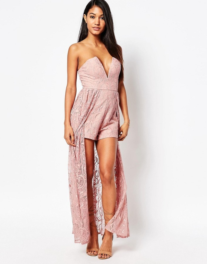 31bc17f4903e ... Dresses Love Triangle Lace Maxi Romper ...