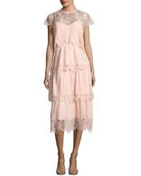 Elsa tiered lace midi dress blush medium 3995317