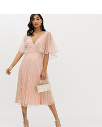 ASOS DESIGN Midi Dress Flutter Sleeve And Pleat Skirt In Lace