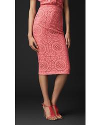 Burberry English Trellis Lace Pencil Skirt
