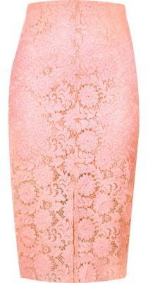 d48da1c22e River Island Light Pink Lace Pencil Skirt, $30 | River Island ...