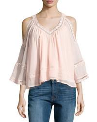 Rebecca Minkoff Deneuve Cold Shoulder V Neck Top Pink