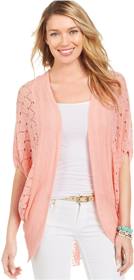 Ny Collection Pointelle Knit Lace Back Cardigan | Where to buy ...