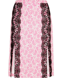 Christopher Kane Lace Paneled Printed Crepe Skirt