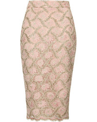 Topshop Limited Edition Pink Pencil Skirt With Gold Lace Contrast Length 69cm 100% Nylon Hand Wash Cold