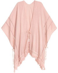 Poncho with fringe powder pink ladies medium 706271