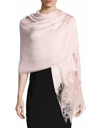 Valentino Garavani Woven Lace Trim Shawl Pink