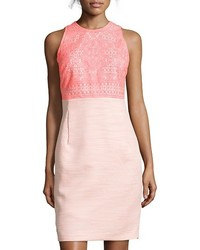 Hayden Pink Lace And Tweed Sleeveless Sheath Dress