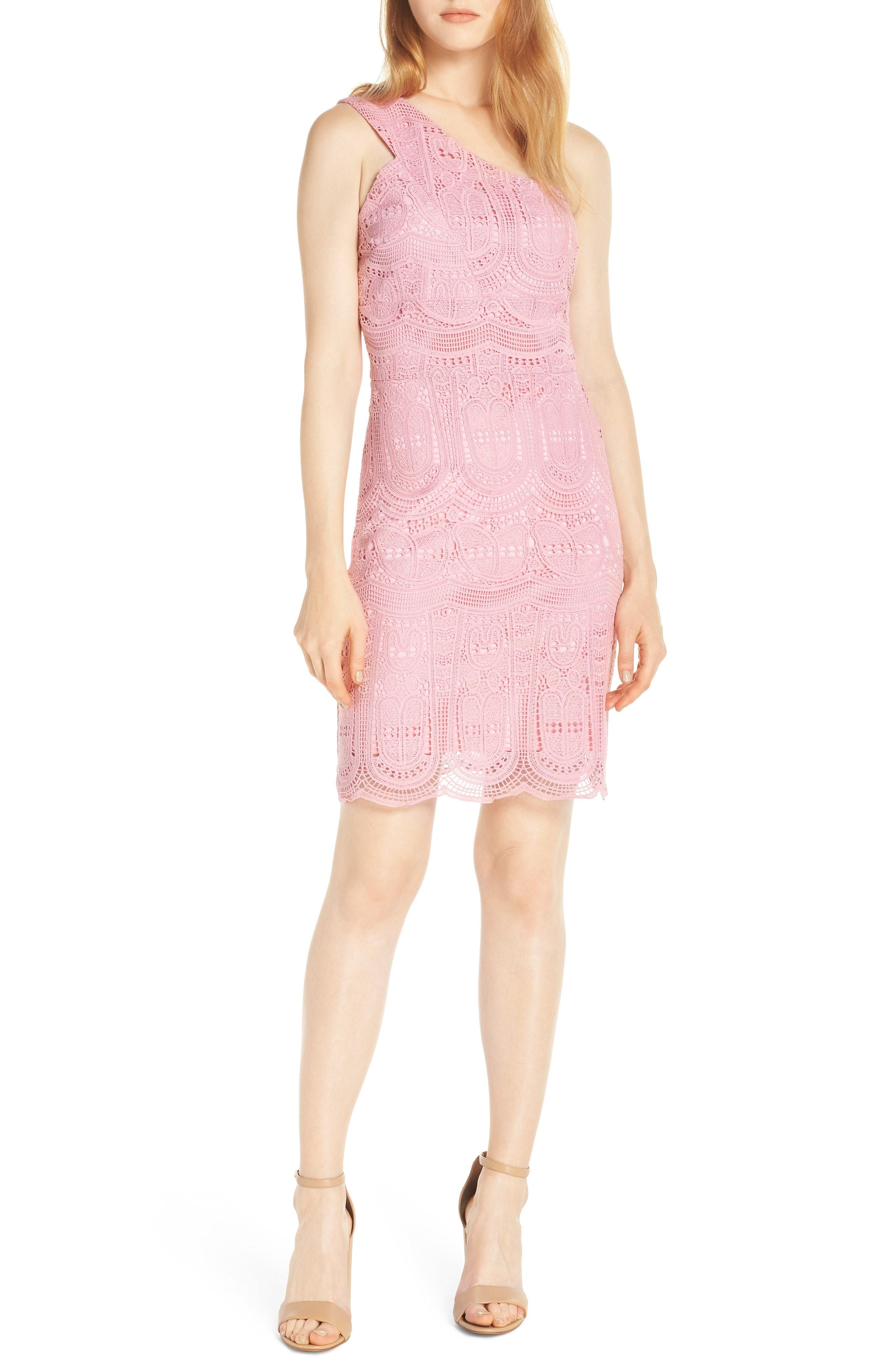 R Grace One Shoulder Lace Sheath Dress